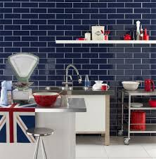 lapis dark blue brick tiles installed vertically create an