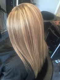 dark blonde hair with highlights long bob haircut