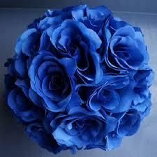 Flower Ball Royal Blue 7 And 10 Inch Silk Flower Pomander Kissing Balls