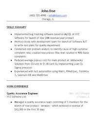 Sample Resume Format For Experienced Software Test Engineer by Quality Assurance Resume Sample U2022 Hloom Com