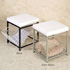 Bathroom Stools With Storage Bathroom Furnishing Design And Decoration Using Square Black Metal