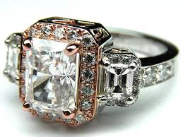 stone vintage rings images Engagement ring three stone radiant cut diamond vintage style two jpg