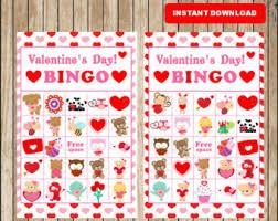 valentines bingo bingo etsy