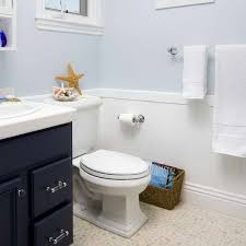 wainscoting bathroom ideas pictures blue vanity and the rest of the room is shades of blue white and