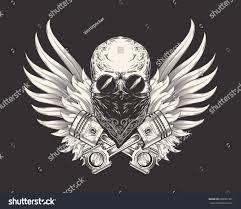 vector illustration skull racer sunglasses bandanna stock vector