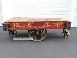 industrial railroad cart coffee table look here u2014 coffee tables