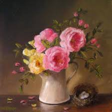 pitcher of roses country roses in pitcher with nest painting still miniature