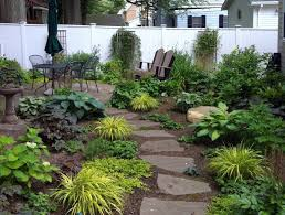 outdoor a garden with different plants and a wooden chair in the