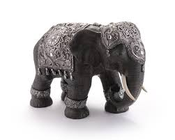 electro plated elephant statue black and silver ornaments