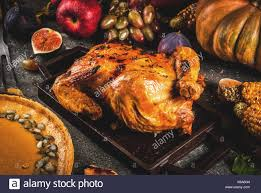 thanksgiving day food roasted whole chicken or turkey with autumn