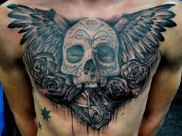 black gray winged skull with roses and clock chest