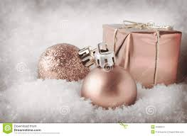 pale pink decorations in snow stock image image of
