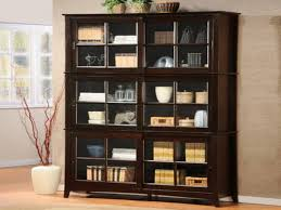 Wooden Bookcase With Doors Rectangle Black Wooden Bookshelf With Sliding Glass Door Bookshelf