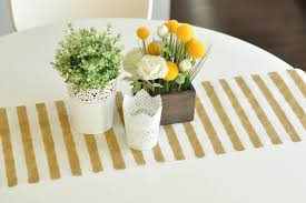 diy no sew gold striped burlap table runner for 6