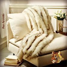 Faux Fox Fur Throw Plush Fur Throw Blanket White W Black Tip Arctic Fox Russian