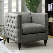 Tufted Accent Chair Furniture Of America Bently Tufted Accent Chair In Gray Idf