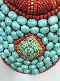 collar turquoise coral handmade handcrafted necklace tribal