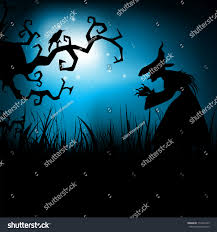 free halloween background eps halloween night background dead tree witch stock vector 115432423