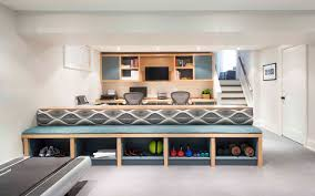 living room storage bench basement contemporary with built in seat