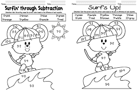 addition and subtraction coloring worksheets for kindergarten