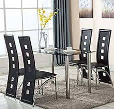 Amazoncom  Piece Glass Dining Table Set  Leather Chairs - Glass for kitchen table