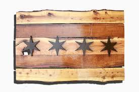 handmade live edge wooden chicago flag vintage art distressed