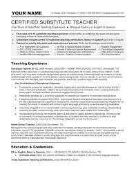 Teachers Sample Resume by Substitute Teacher Resume Cryptoave Com