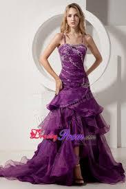 purple spaghetti straps prom party dress with rhinestones