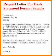 Request Letter Of Bank Statement bank statement letter format letter template