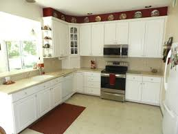 Red And White Kitchen Cabinets U Shaped Red White Kitchen Decoration Using Rectangular Red