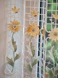 Sunflower Yellow Curtains Caf繪 Net Curtains Kitchen Nets Macram罠 Ready Made Curtain Panel