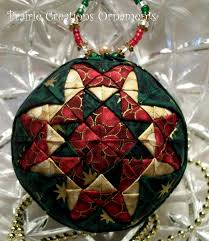 christmas patchwork quilted ball ornament 22 00 via etsy