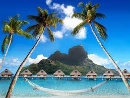french polynesia tropics mountains sky sea bora bora bungalow