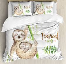 King Size Duvet Cover Set Sloth King Size Duvet Cover Set Happy Family Boho Style With 2