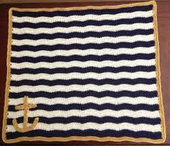 Nautical Themed Rugs Illuminate Crochet Nautical Baby Blanket