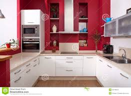 modern kitchen with red walls royalty free stock image image