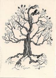 aceo print of sketch ryta magic oak tree folk