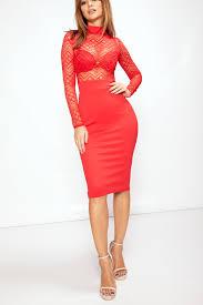 nina red lace midi dress