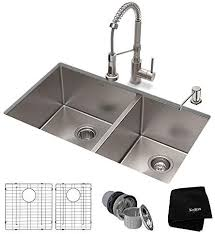 metal kitchen sink and cabinet combo kraus khu103 33 1610 53ss set with standart pro stainless