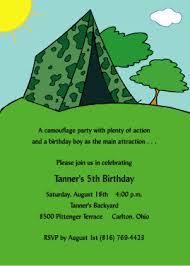 Backyard Birthday Party Invitations Camouflage Birthday Party Invitations From Tiny Tidings