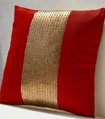 buy handmade throw pillow with silk gold color block and