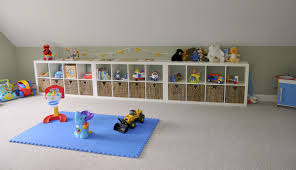 modern affordable design of the blue playroom with small white