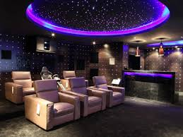 Home Led Lighting Ideas by Home Theater Design In Modern Style With Three Lighting Fixtures