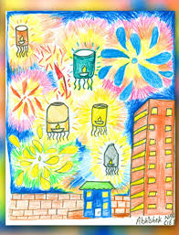 diwali paintings scene drawing pictures sketch for kids happy