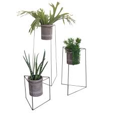 Vase Stands Set Of 3 Industrial Modern Triangle Planter Stands With Gray Clay