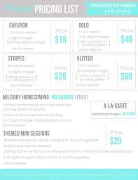 Wholesale Price Sheet Template Photography Price List Template