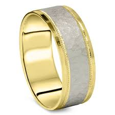 comfort fit ring 950 platinum 18k yellow gold 7mm hammered wedding band men s