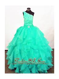 turquoise organza beading little pageant dresses customize