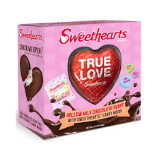 sweethearts candy sweethearts hollow milk chocolate heart with classic candy hearts