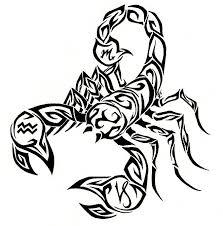 tribal style black scorpion with zodiac special